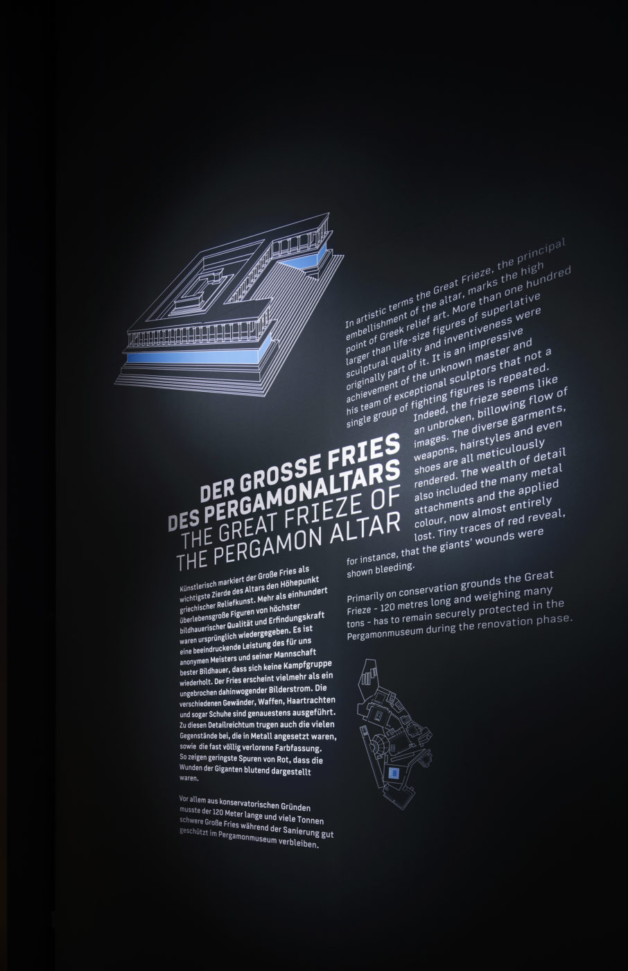 Museumsinsel Berlin Pergamonaltar Ausstellung Panorama Grafik Typografie Beschreibungstext