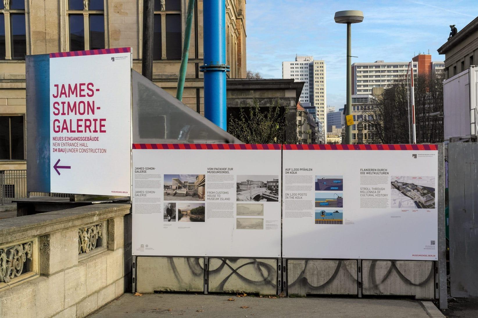 Museumsinsel Berlin Baustellenkommunikation Bautunnel Infoschild