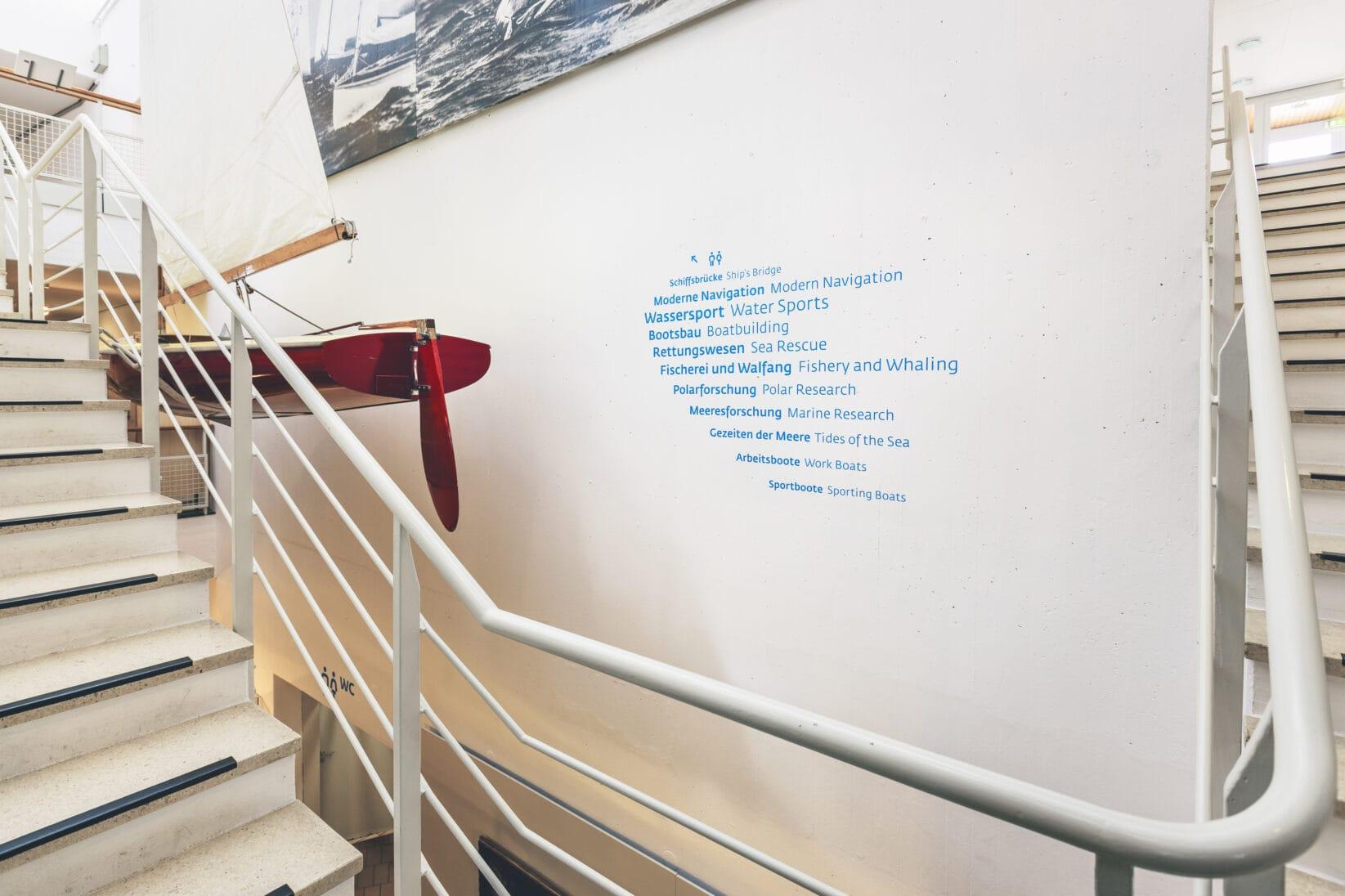 Leitsystem DSM Schifffahrtsmuseum Bereich Schwarm Wegweiser Treppe Boot