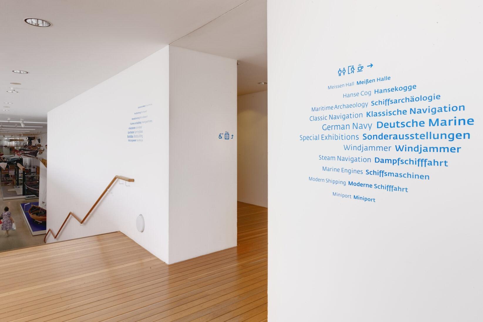 Leitsystem DSM Schifffahrtsmuseum Bereich Schwarm Wegweiser