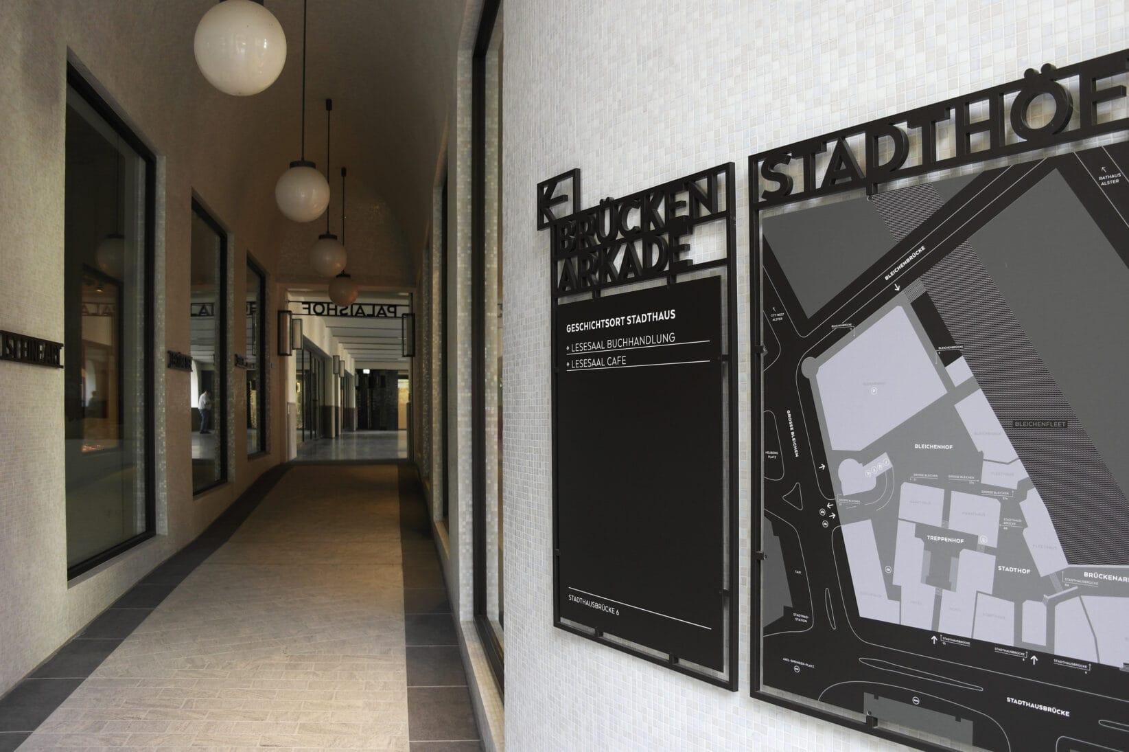 Stadthöfe Hamburg Leitsystem Plan Gang