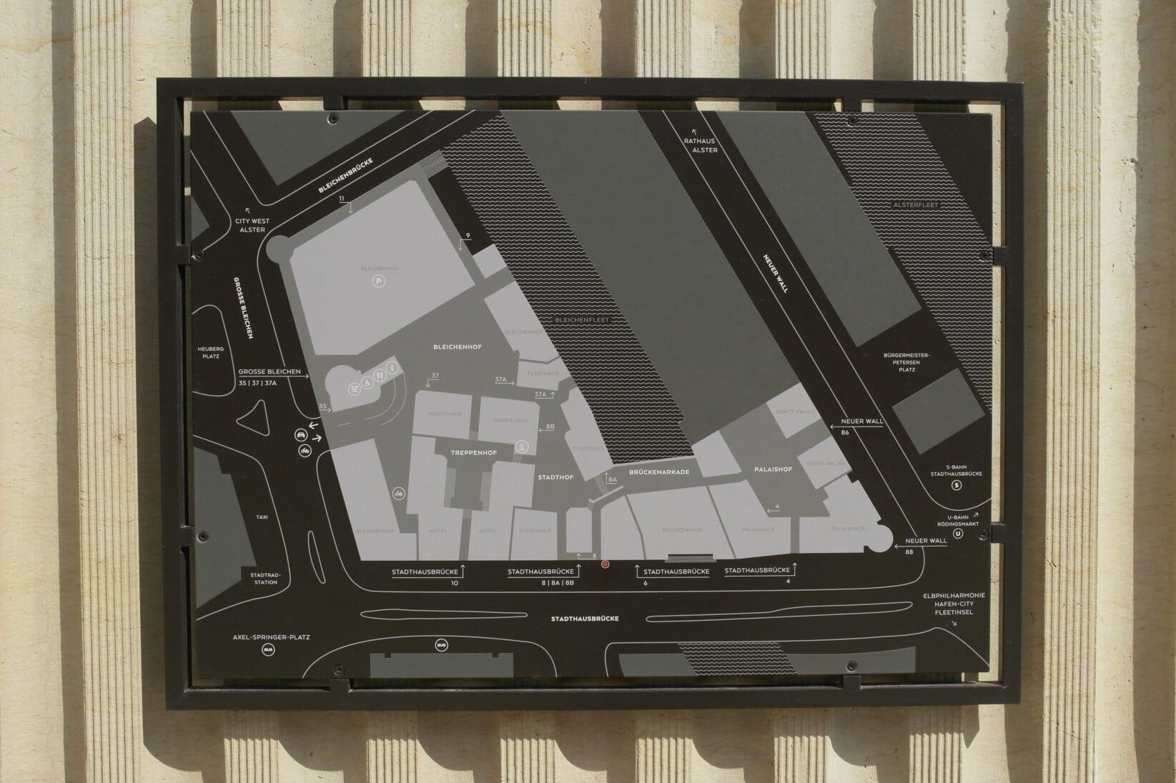 Stadthöfe Hamburg Leitsystem Plan