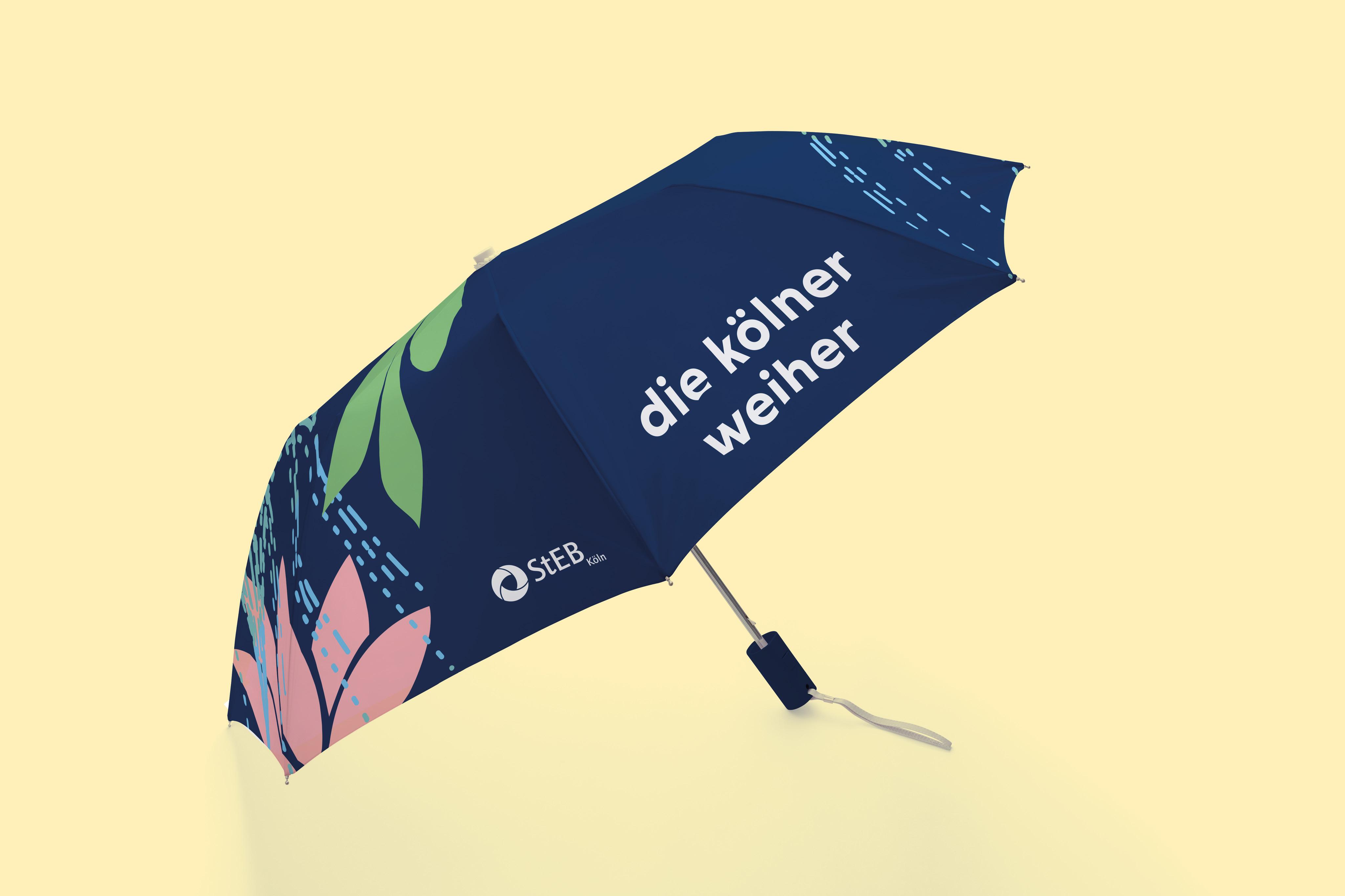 Ein Regenschirm mit dem Logo und Illustrationen der neuen Marke